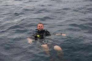 Vandenyje prieš paskutinį nerimą gauti savo PADI Openwater sertifikatą